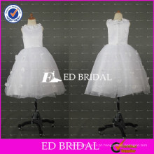 ED Bridal Lovely Floral Crew Neck Satin Top Ball Gown Comprimento do chá White Organza Flower Girl Dress 2017