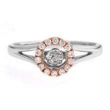 Два тонких танцующих бриллиантовых кольца 925 Серебряное кольцо