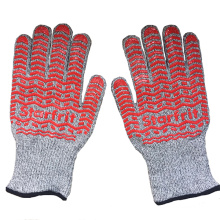 Double Silicone Ansi Cut Resistant HPPE Kelvar Gloves for 500 High Temperature
