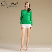 El suéter al por mayor delgado llano del jersey del verde de las últimas señoras del diseño al por mayor barato