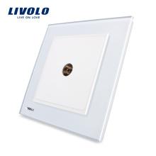 Livolo Новый стиль розетка Faddish Белый кристалл стеклянная панель VL-W291V-12 современная ТВ розетка