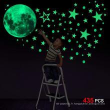 Décoratif personnalisé lueur lune plat ou 3D lueur dans l'autocollant mural étoiles sombres