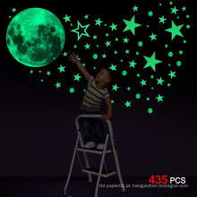 Personalizado decorativo Glow Moon Flat ou 3D Glow no Dark Stars Wall Sticker