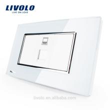 Livolo US / AU Стандартная компьютерная розетка с жемчужно-белым хрустальным стеклом VL-C391C-81