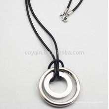 Cheap prata chapeado colar de aço inoxidável com cordão de couro PU