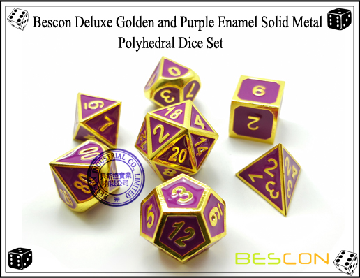 Bescon Deluxe Golden and Purple Enamel Solid Metal Polyhedral Role Playing RPG Game Dice Set (7 Die in Pack)-2
