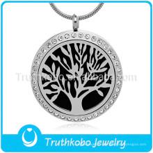 Collier avec pendentif diffuseur d'aromathérapie Collier de chaîne en câble avec arbre de vie