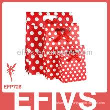 Red & White Polka Dot saco de embrulho Handmade