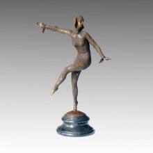 Dancer Bronze Garden Sculpture Les Girl Carving Brass Statue TPE-164