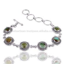Designer pulseira turquesa Gemstone 925 pulseira de prata atacado jóias da Índia