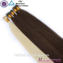 Extensiones rizadas al por mayor dobles del pelo del grano micro de Remy del doblez 1g