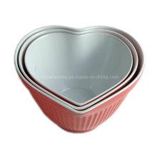3PCS bicolor melamina coração em forma de tigela de mistura