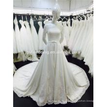 Echte Probe Eine Linie 3/4 lange Ärmel Frence Spitze Alibaba Hochzeitskleid Muster 2016
