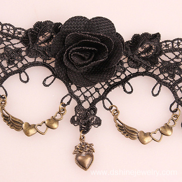 Antique Style Pendant Anklets Rose Lace Anklets For Women