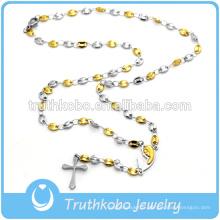 Collier en forme de chapelet avec croix en or jaune et argent 24K à la mode