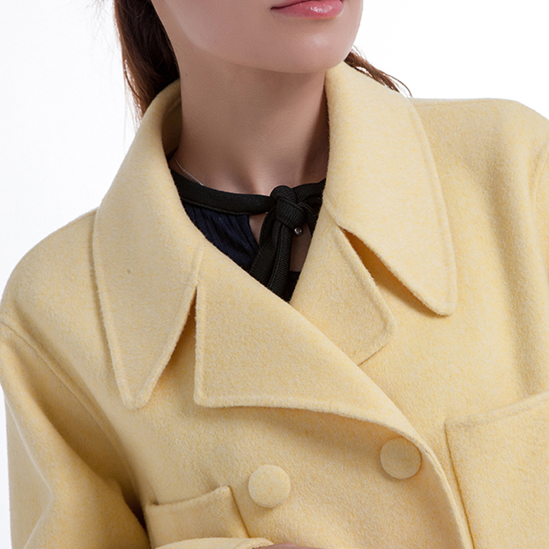 New Yellow Cashmere Blended Overcoat