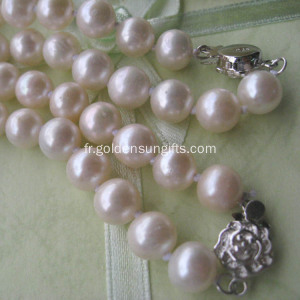 Collier en perle d'eau douce en or 925 en argent sterling 8-9mm