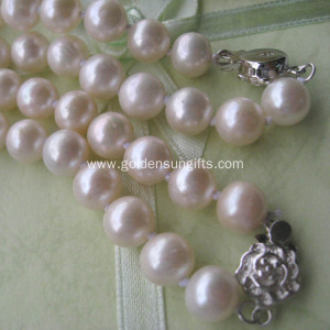925 Sterling Silver 8-9MM Freshwater Pearl Necklace Jewelry