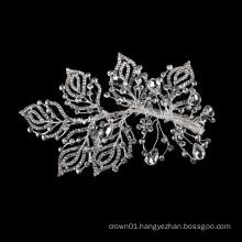 Headdress Rhinestone Shining Wedding Fancy Silver Bridal Jewelry Accessories Metal crystal leaf  hair clip accessories