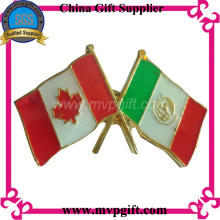 Metal Flag Badge with Enamel Color