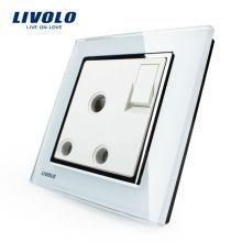 Interrupteur mural à bouton-poussoir Livolo avec prise 15A, panneau en verre cristal blanc, VL-W2Z1UK2-12