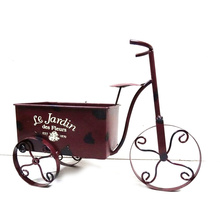Practical Metal Tricycle Garden Flowerpot with Decal Wording