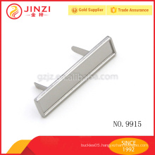 55*12mm slim long square zinc alloy metal name plate, nickel label