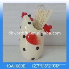 Soporte de utensilios de cerámica de cerámica personalizada con forma de pollo popular