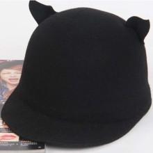 2014 nueva moda lindo gato orejas pura lana sombrero plano ala sombreros mujeres hombres sombrero
