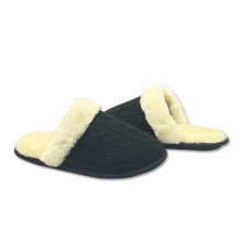 best black warm fuzzy slipper shoes for womens