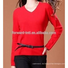 Fashion Damen Kaschmir-Pullover mit V-Ausschnitt