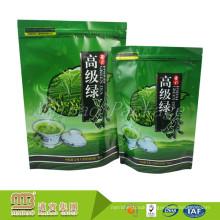 Custom Heat Seal Packing Aluminum Foil Lined Green Tea Bag With Tear Notch
