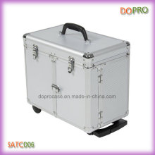 Silver Aluminum Hair Stylist Tool Case Trolley Hairdressing Case (SATC006)
