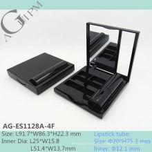 Caja de sombra de ojos espejo Rectangular vacía con lápiz labial tubo AG-ES1128A-4F, empaquetado cosmético de AGPM, colores/insignia de encargo