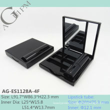 Empty Rectangular Mirror Eye Shadow Case With Lipstick Tube AG-ES1128A-4F, AGPM Cosmetic Packaging , Custom colors/Logo