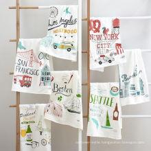 hight quality printing funny cartoon graffiti square kitchen tea towel TT-017