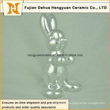 Animal em forma de artesanato de cerâmica, chapeamento de cerâmica coelho de pás para decoração de páscoa