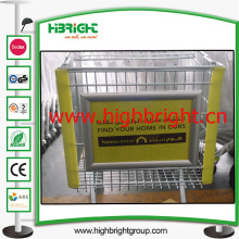 Exibir publicidade da placa para carros de carrinho de supermercado