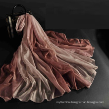 China new arrival fashion women wholesale 100% polyester silk feel scarf