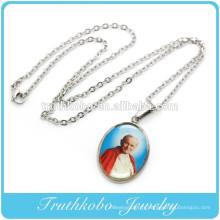 bijoux religieux chrétien de collier de pape imge religieux en acier inoxydable avec le charme