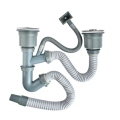 Double Head Stainless Steel Kitchen Sink Bowl Siphon Drain Pipe With Overflow Pipe