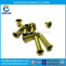 DIN7339 Stock Cabeza plana de latón Tubular Remaches