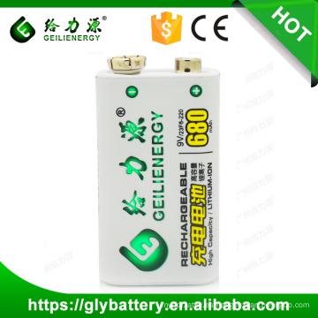 Fuente del fabricante Geilienergy Li-ion 9V 680mah Batería recargable con tarjeta de protección