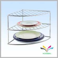 High quality 3 tiers stainless steel floor stand dish display rack