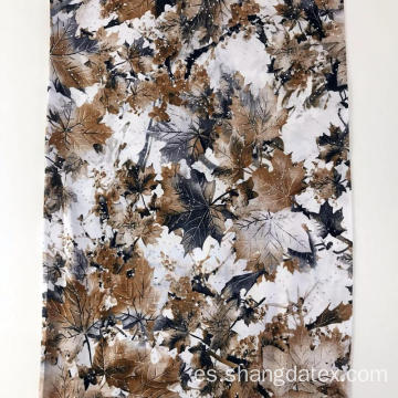 Leaf Design Rayon Semi-Digital Super Fabric con piedra