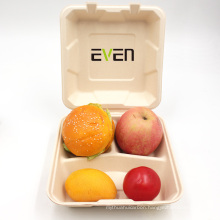 Biodegradable sugarcane bagasse clamshell  container for fast food