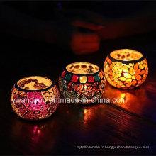 Porte-bougie Tealight en verre Mosaïque coloré
