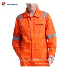 La combinaison réfléchissante de sécurité de combinaison de sécurité de bandes d'EN471 d'Orange couvre les vêtements de travail avec 2 poches de poitrine