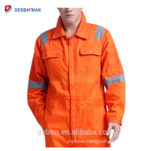 Durable Orange EN471 Tapes Reflective Safety Coverall Construction Jumpsuit Workwear With 2 Chest Pockets