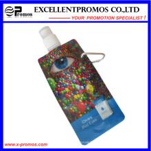 Garrafa de água plástica dobrável com anel de aço inoxidável (EP-B7154)